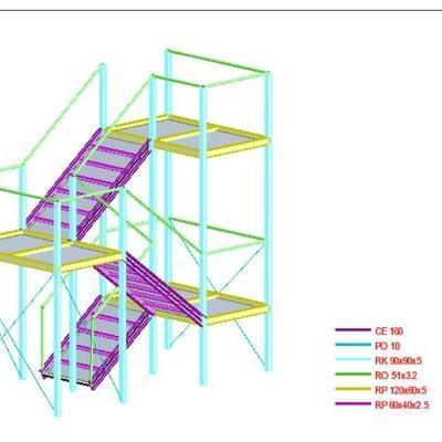 schody stalowe projekt konstrukcji dortech
